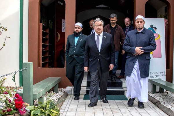 United Nations Secretary-General Antonio Guterres visits Christchurch mosques