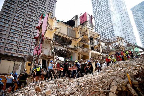 Manila hotel undergoing demolition collapses