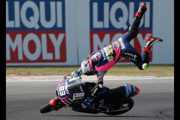 Brazils Meikon Kawakami crashes Moto3 race