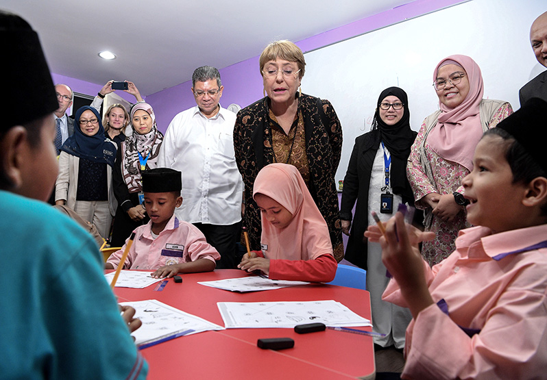 UNHC Michelle Bachelet visits Rohingya Integrated School of Excellence in Malaysia