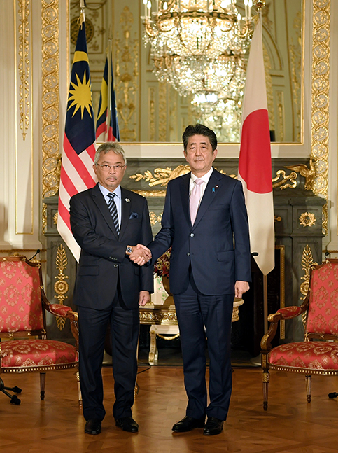 Malaysian King and Japanese Premier at Akasaka State Guesthouse